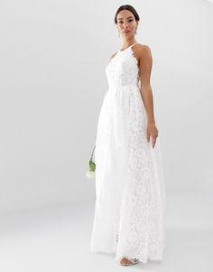 aa359674db EDITION lace halter neck maxi wedding dress
