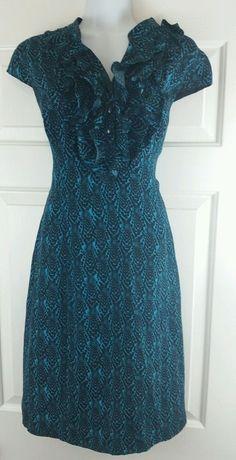 Classiques Enrier 100% Silk Blue Black Snake Print Ruffled Career Shift Dress 8 #ClassiquesEnrier