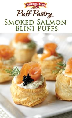 Smoked Salmon Blini Puffs. Simple, sophisticated and the perfect recipe for Easter brunch! These little bites are made with Puff Pastry sheets, filled with zesty crème fraiche, and topped with smoked salmon (and black caviar if you're feeling extra fancy).