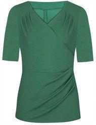Bluzka kopertowa Lilianna I, zielona bluzka z marszczeniami maskującymi brzuch.