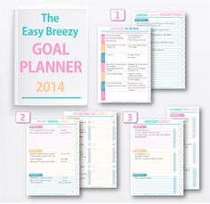 FREE download printable Goal Planner for 2014. An easy, step-by-step process to turn your grand plans into achievable weekly tasks, and to review your progress throughout the year and help you get back on track. #goalplanner #goals #planner #easybreezyparties #easybreezylife