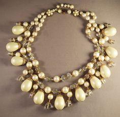 Decadent Runway Miriam Haskell Crystal/Rhinestone & Huge Faux Pearl Bib Necklace #MiriamHaskell