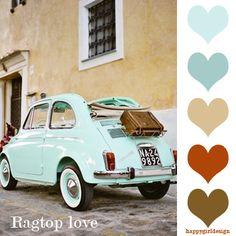 Mint wedding car - Vintage Fiat 500 in mint Jaguar Xk 140, My Dream Car, Dream Cars, Carros Retro, Cars Vintage, Vintage Stuff, Vintage Sport, Volkswagen, Cabriolet