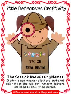Back to School Detective Craftivity - great for Open House Bulletin Board Detective Crafts, Detective Theme, Beginning Of School, Back To School, Classroom Jobs, Classroom Management, Job Chart, Name Activities, Summer Reading Program