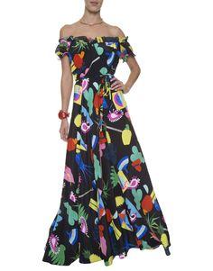 Vestido Longo Carolina Niemeyer Black Isolda | Off the shoulder Isolda black printed dress