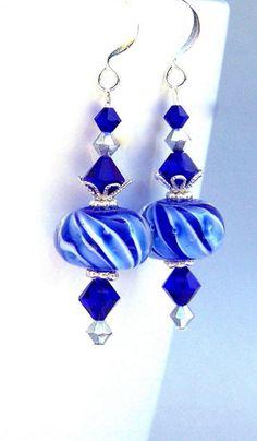 Cobalt blue earrings royal blue lampwork glass by Mindielee Blue Earrings, Glass Earrings, Beaded Earrings, Earrings Handmade, Beaded Jewelry, Colbalt Blue Dress, Cobalt Blue, Blue Gift, Lampwork Beads
