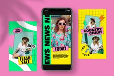 90s Stories Social Media Template by Guuver on @creativemarket Social Media Template, Social Media Design, Social Media Poster, Web Design, Layout Design, Sailboat Art, Kids Diary, Digital Art Photography, Instagram Story Template