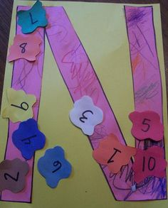 Letter N Crafts - Numbers via Crafts N things. Use already cut out circles from resource room with #s written on them. Card stock N.