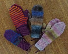 Mittens knitted by Deborah Cooke in Patons SWS and Bernat Satin with some leftover Bernat Mosaic.