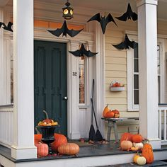 Welcome trick-or-treaters in hair-raising style by turning your front porch into a bat cave.