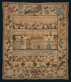 Sampler, Elizabeth Sheffield, 1784. From the collections of the American Folk Art Museum.