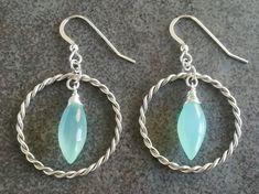 Aqua Blue Chalcedony Earrings in Sterling Silver / Large Hoop Earrings Silver / Statement Twisted Earrings / Gift for Her / Bridal Earrings Silver Hoop Earrings, Bridal Earrings, Drop Earrings, Handmade Jewellery, Unique Jewelry, Handmade Gifts, Blue Chalcedony, Aqua Blue, Gifts For Her