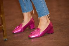 OK - let's just take a moment for these... Dare to be bold this winter with metallic pink loafers!