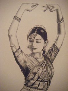 Pencil sketch of a Bharatanatyam dancer. I really like this perspective. Dance Paintings, Indian Art Paintings, Girl Drawing Sketches, Pencil Art Drawings, Drawing Ideas, Alphonse Mucha, Dancer Drawing, Indian Drawing, Dancing Drawings