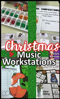 Christmas Music Workstations that are fun, engaging and easy on you are discusse. - Emma Lee home Singing Lessons, Music Lessons, Singing Tips, Learn Singing, Middle School Music, Music Classroom, Classroom Ideas, Music Teachers, Classroom Projects