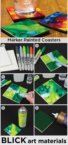 Create colorful one-of-a-kind coasters using glazed tiles, Sharpie markers, and rubbing alcohol. They're great to give as gifts or frame as original works of art!