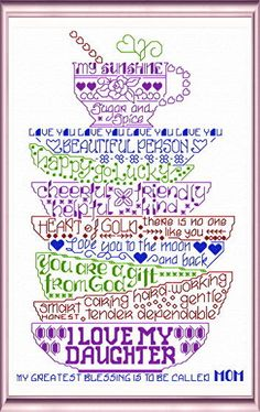 Lets Love our Daughters 'Words' cross stitch pattern designed by Ursula Michael,