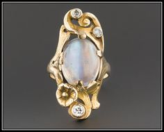 Antique Moonstone Ring Art Nouveau Moonstone by TrademarkAntiques