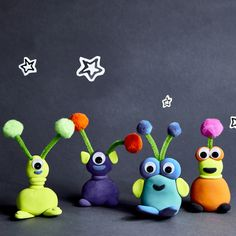 Model magic ® aliens sand crafts, clay crafts, arts and crafts Clay Projects For Kids, Space Crafts For Kids, Clay Crafts For Kids, Art Projects, Arts And Crafts, Air Dry Clay Ideas For Kids, Model Magic, Alien Crafts, Bug Crafts