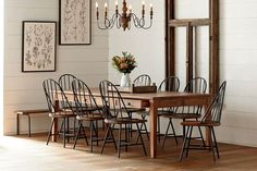 15 Narrow Dining Tables for Small Spaces (Gallery Ideas) Long Narrow Dining Table, Farmhouse Dining Room Table, Dining Room Table Decor, Dining Room Design, Modern Farmhouse Kitchens, Farmhouse Kitchen Decor, Rustic Farmhouse, Table For Small Space, Small Spaces