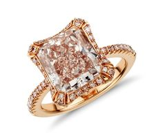 Heirloom Fancy Pink Radiant Cut Micropavé Halo Diamond Ring in 18k Rose Gold (5.99 ct tw) | Blue Nile