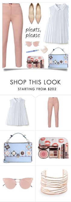"""Pleate Top"" by nastenkakot ❤ liked on Polyvore featuring Lacoste, WtR, Fendi, Charlotte Tilbury, So.Ya, Alexis Bittar and Thierry Mugler"