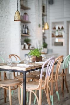 Hally's Parsons Green, communal tables with pastel colored dip dyed bentwood chairs Dining Room Painted Chairs, Painted Furniture, Dipped Furniture, Painted Wood, Furniture Ideas, Decorated Chairs, Painted Bricks, Painted Tables, Decoupage Furniture