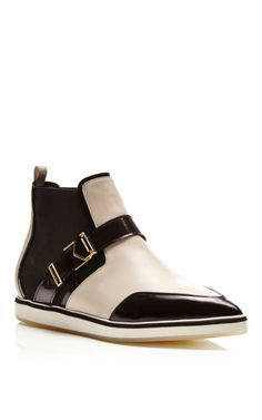 White and Black Calf Leather Pointy Flat Boots by Nicholas Kirkwood for Preorder on Moda Operandi