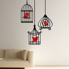 Three Birds in Bird Cages Wall Vinyl Decal Sticker