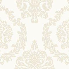 "York Wallcoverings Candice Olson Inspired Elegance Aristocrat 27' x 27"" Damask Wallpaper Color: Pearl/Ecru"