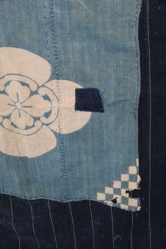 antique japanese indigo cotton katazome