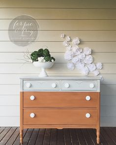 Color block dresser painted in General Finishes Seagull Grey and Old Fashioned Milk Paint Co. Pumpkin.