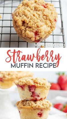 Strawberry Muffin Recipes, Strawberry Muffins, Strawberry Sweets, Baking Recipes, Cake Recipes, Dessert Recipes, Yummy Treats, Delicious Desserts, Yummy Food