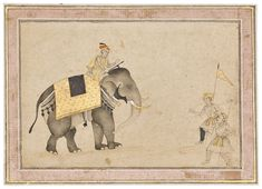 A FINE DRAWING OF AN ELEPHANT WITH MAHOUT AND TRAINERS Christie's INDIA ON PAPER