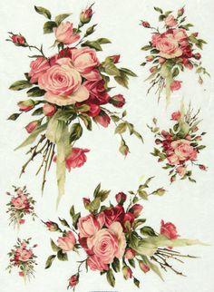 Ricepaper/Decoupage paper,Scrapbooking Sheets /Craft Paper Vintage Rose Bouquet