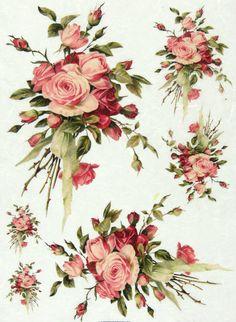 Ricepaper/Decoupage paper,Scrapbooking Sheets /Craft Paper Vintage Rose Bouquet