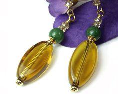 Green Jade and Amber Glass Dangle Earrings Handmade by PrettyGonzo