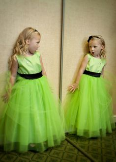 Made these tutu flower girl dresses for my daughter's wedding. Her favorite color, lime green!