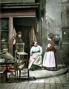 Photochrome - An old second-hand furniture shop in Church Lane, Holborn, London 1877 (photo by J.Thompson and Adolphe Smith)