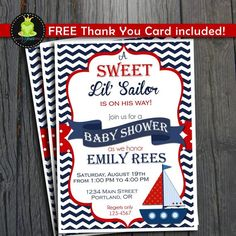 Nautical Baby Shower Invitation - FREE Thank You Card included by ForeverYourPrints on Etsy