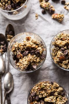 Chewy Chocolate Chip Cookie Granola: Seeing as this is a granola recipe, I wanted it to be much healthier than your average cookie, so I decided to load it with all the good things....old fashioned rolled oats, quinoa, nuts, seeds, and honey for sweetness. @halfbakedharvest.com
