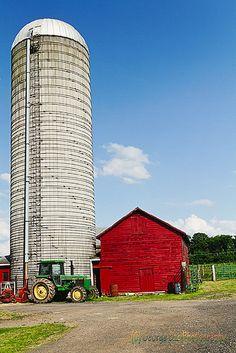 Red Barn, White Silo & John Deere Tractor.