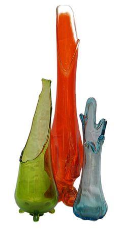 Vintage // Mid Century // Glass Vases // Set of Three by GotRetro Vintage Dishware, Antique Glassware, Vintage Vases, Vintage Bottles, Vintage Decor, Glass Floor Vase, Floor Vases, My Glass, Glass Art