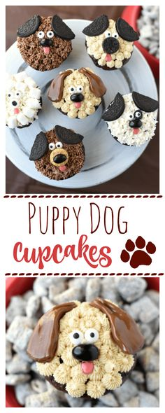 Puppy Cupcakes-Cute Kid's Dog Birthday Cake Idea. If your kids love dogs... this is a perfect dessert. These cupcakes are so yummy and cute. #cupcakes #puppy