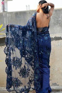 Buy Blue Embroidery Half & Half Satin Net Sarees Online in India Saree Jacket Designs, New Saree Blouse Designs, Bridal Blouse Designs, Blouse Patterns, Saree Backless, Lace Saree, Net Saree, Cotton Saree, Simple Sarees