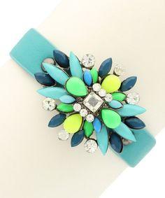Olivia Welles Jewelry  -  Gunmetal & Blue Marquise Snap Bracelet