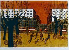 'London Park' by Robert Tavener (linocut) London Places, Illustration Art, Illustrations, Painting & Drawing, Printmaking, Black And White, Art Prints, Landscape, Drawings