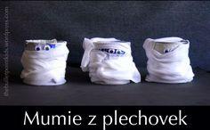 Dekorace na Halloween Mumie z plechovek