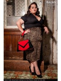 Pinup Girl Clothing Pencil Skirt in Leopard - Plus Size
