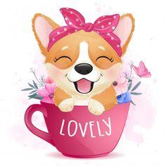 Cute Little Drawings, Cute Animal Drawings, Cartoon Drawings, Cute Drawings, Watercolor Tiger, Watercolor Design, Watercolor Animals, Cute Wallpaper Backgrounds, Cute Wallpapers